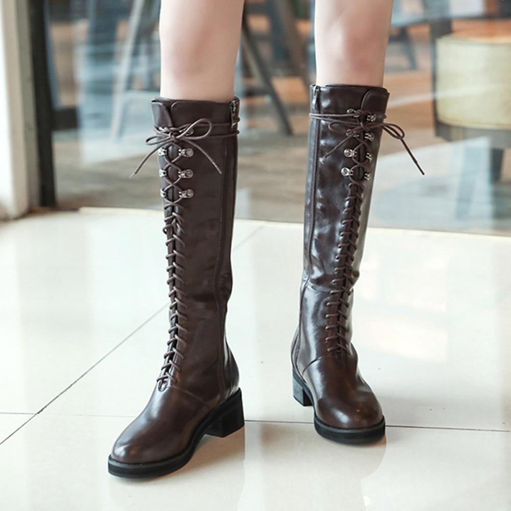 10b33c6fa466 Stylish Lace up Harajuku Vintage Retro Knee High Boots on Storenvy