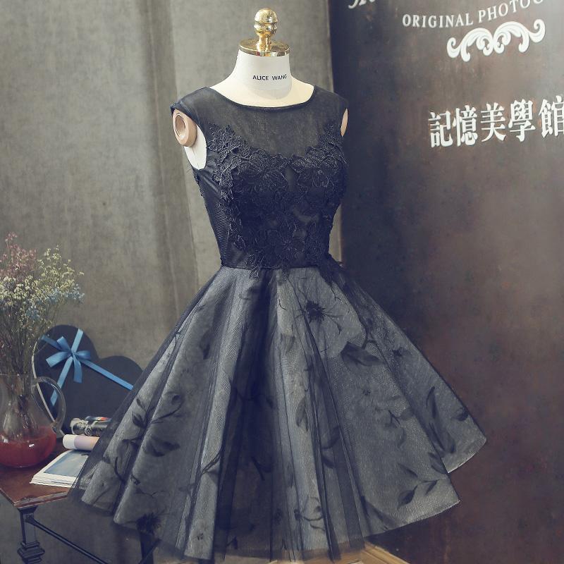 d664415bd10 Black round neck lace short prom dress