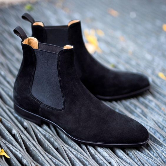 6224ae23f Handmade Men black Suede leather casual ankle boots, Men suede Chelsea boots