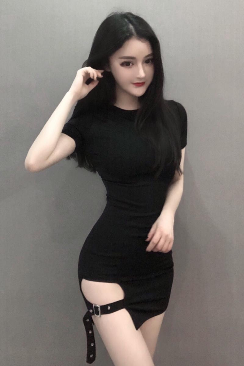 7e4e56202 Round neck tight black mini skirt split bag hip sexy dress ...
