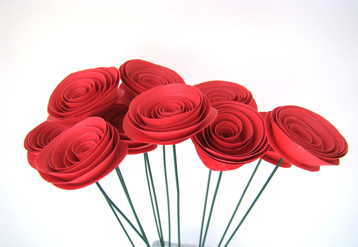 Large red roses one dozen spiral paper roses with stems origami large red roses one dozen spiral paper roses with stems thumbnail 2 mightylinksfo