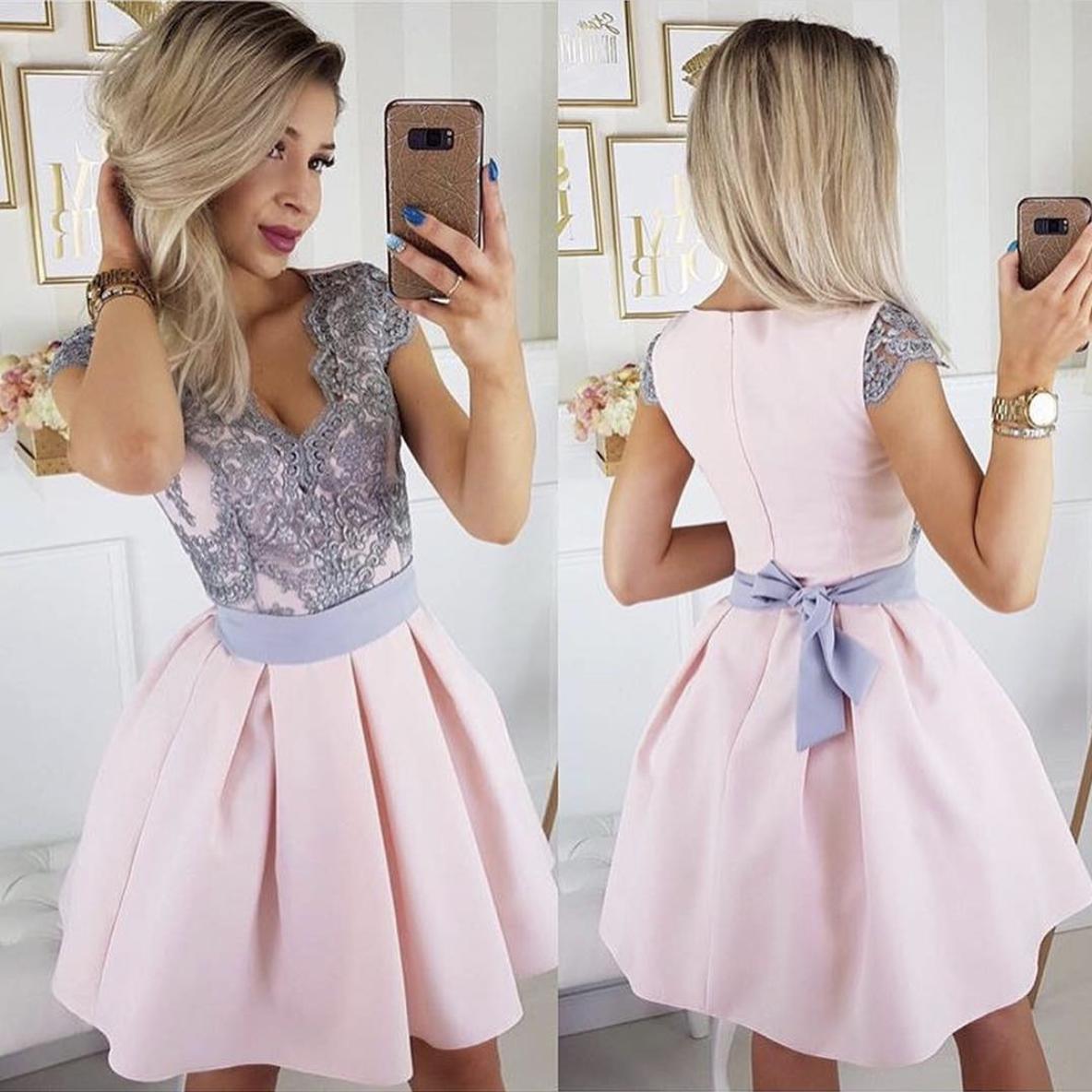 d6ea6fe68 Pink v neck lace satin short prom dress