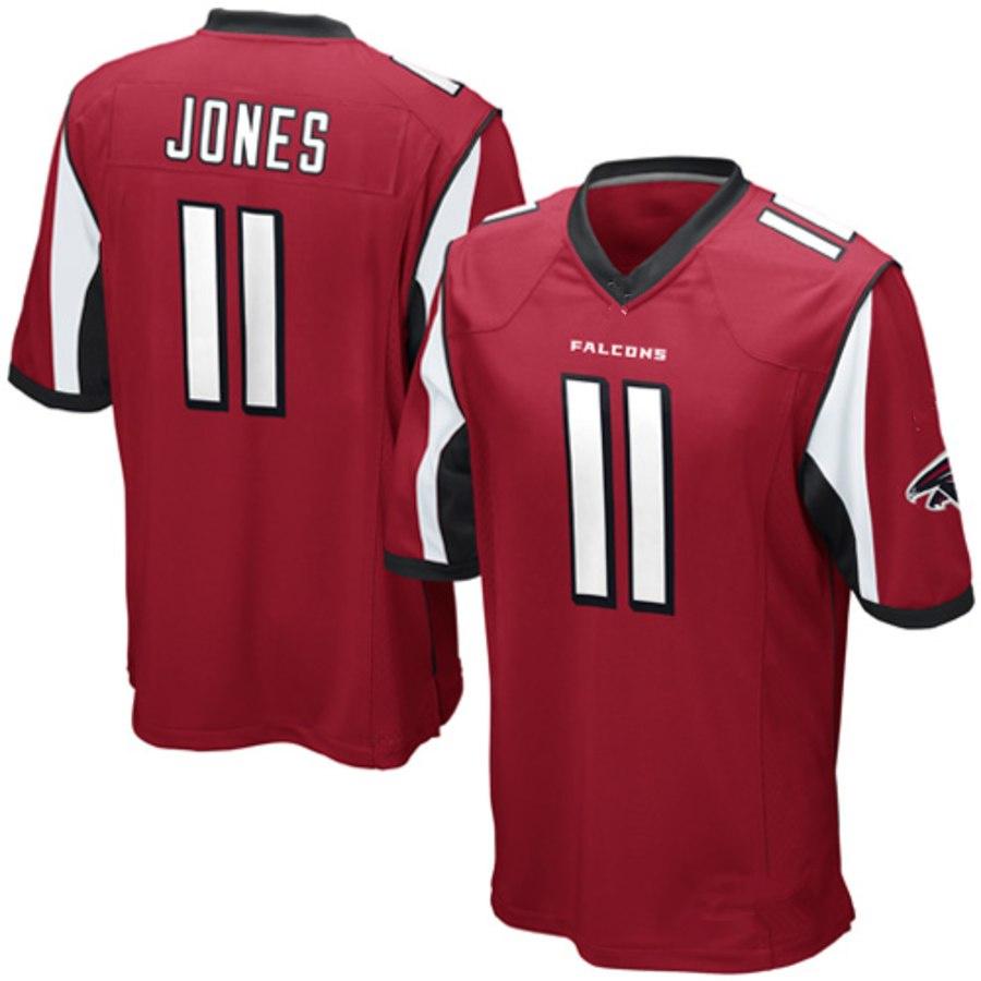 18472909961 Mens Atlanta Falcons #11 Julio Jones Red Football Jersey · vsport ...
