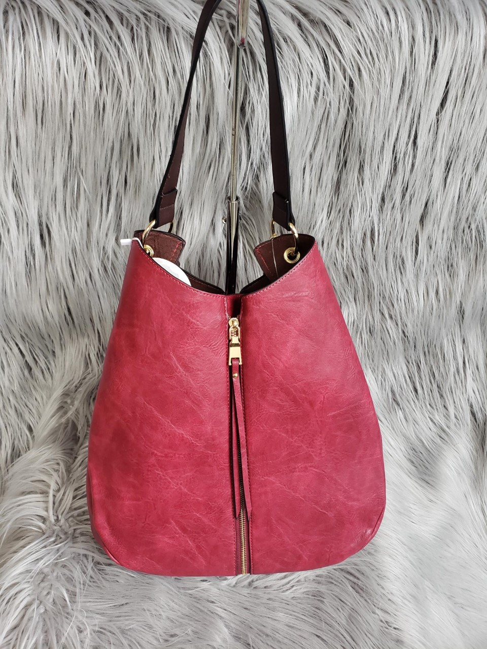 Burgundy Convertible Purse with Detachable Clutch (102871728 Couture Fashion) photo