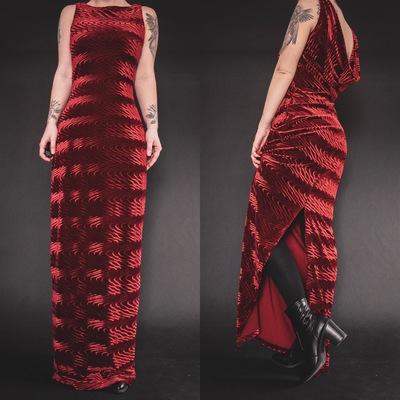 f811e31ddc Reserved for charlotte - vintage 90s red velvet gala gown - Thumbnail 1