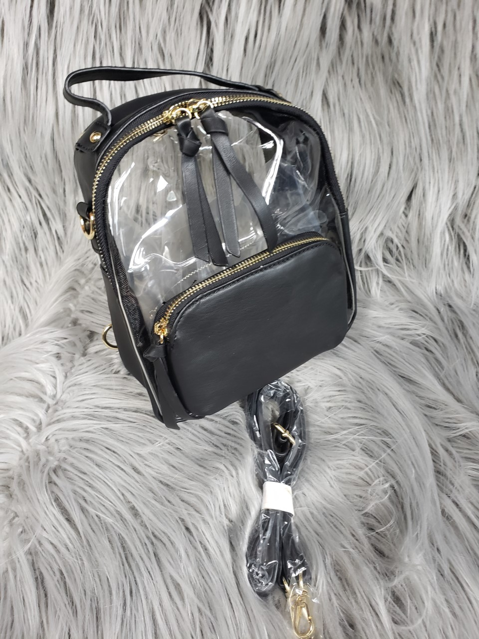 Black See-Through Mini Back-pack Purse (103030701 Couture Fashion) photo