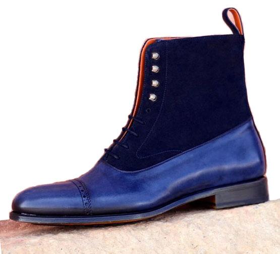 Handmade men navy blue boots, men