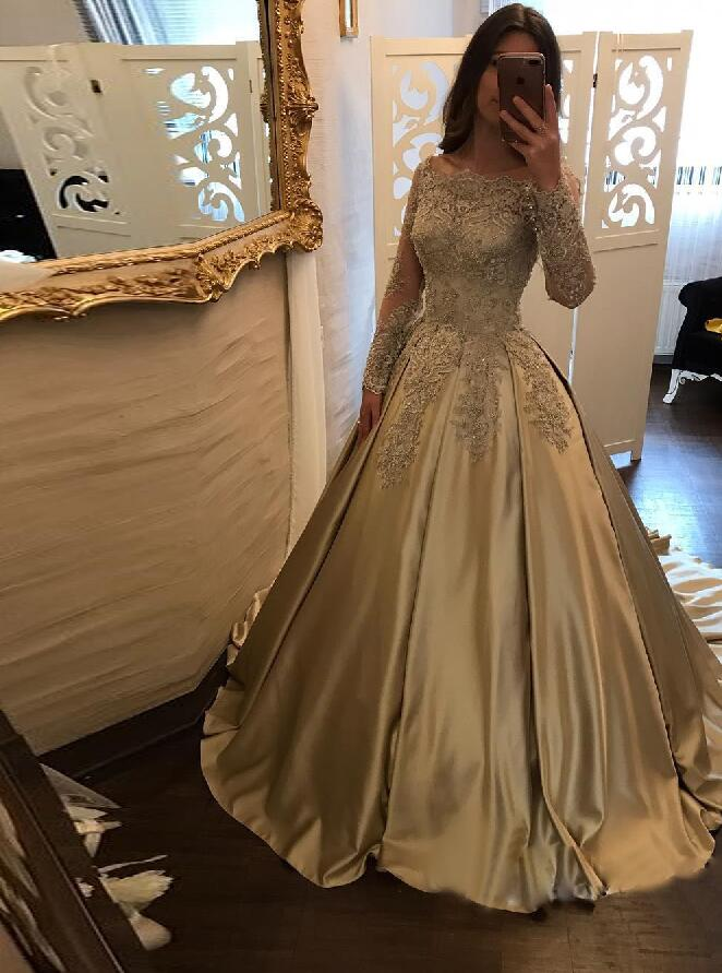 d1e21e107c4 Gold Off The Shoulder Wedding Party Dress Long Sleeves Ball Gown Prom Dress  With Lace Appliques