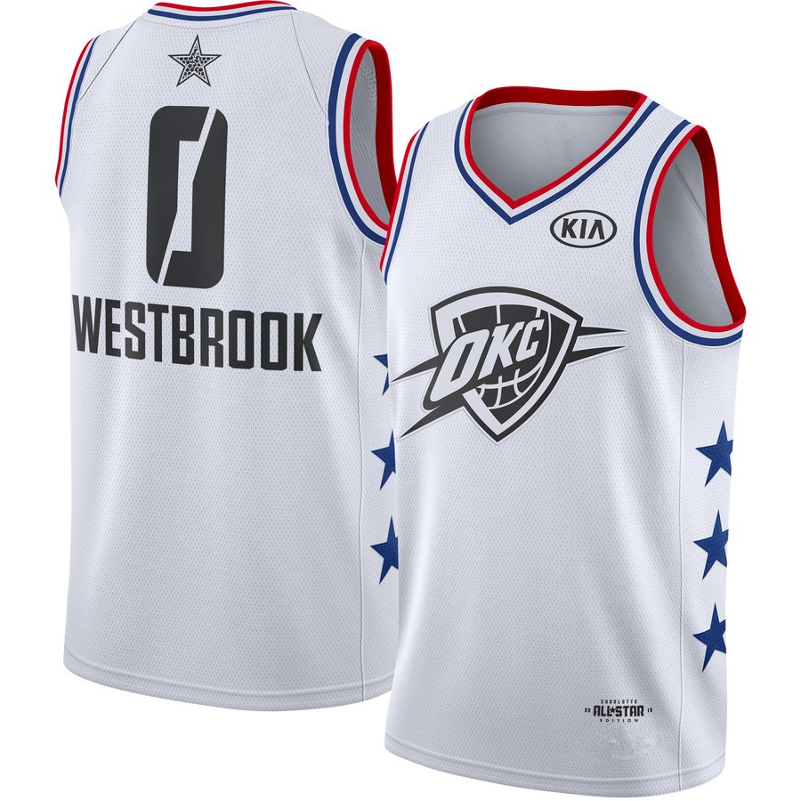 3eb570b32 Men s Oklahoma City Thunder Russell Westbrook White 2019 All-Star Game  Finished Swingman Jersey