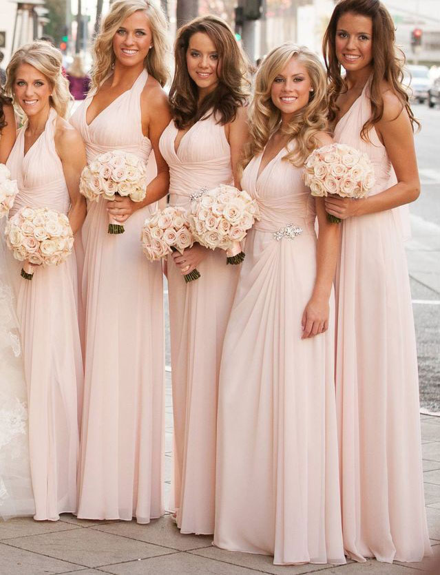 V_Neck_Pink_Long_Bridesmaid_Dresses_Waist_with_Rhinestone