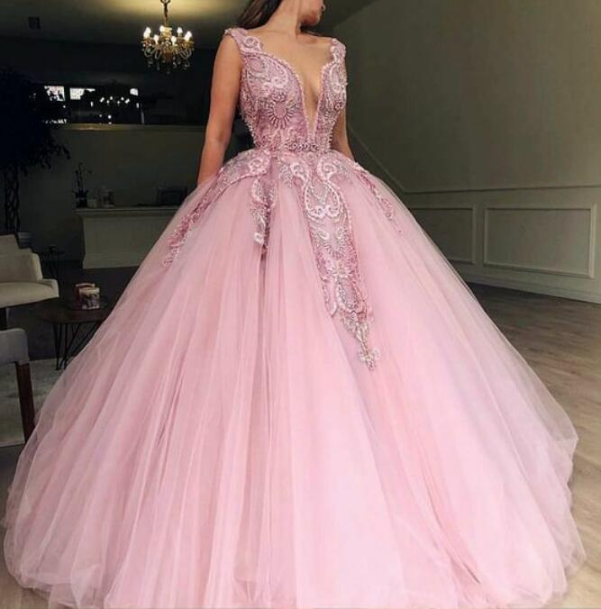 b8042c47bdc1 Pink Princess Deep V Neck Prom Dress Ball Gown Wedding Party Dress With  Beaded Bodice