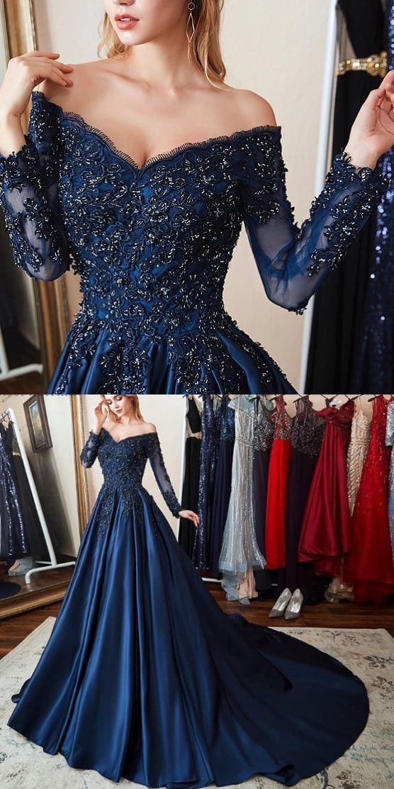 e00c9169407 Gorgeous Long Sleeves Off the Shoulder Beading Navy Blue Prom Dress A0564  on Storenvy