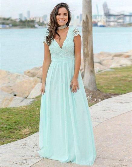 V_Neck_Cap_Sleeves_Long_Bridesmaid_Dresses_with_Lace
