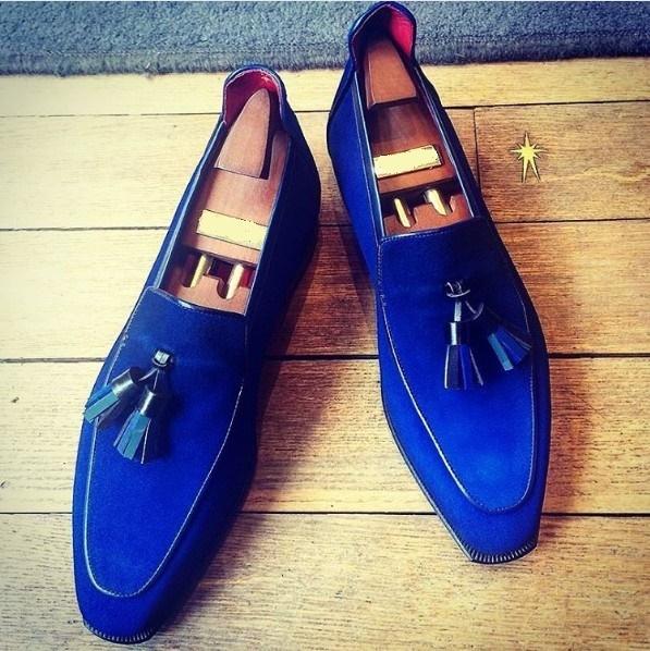 Handmade classic Men Royal blue Suede