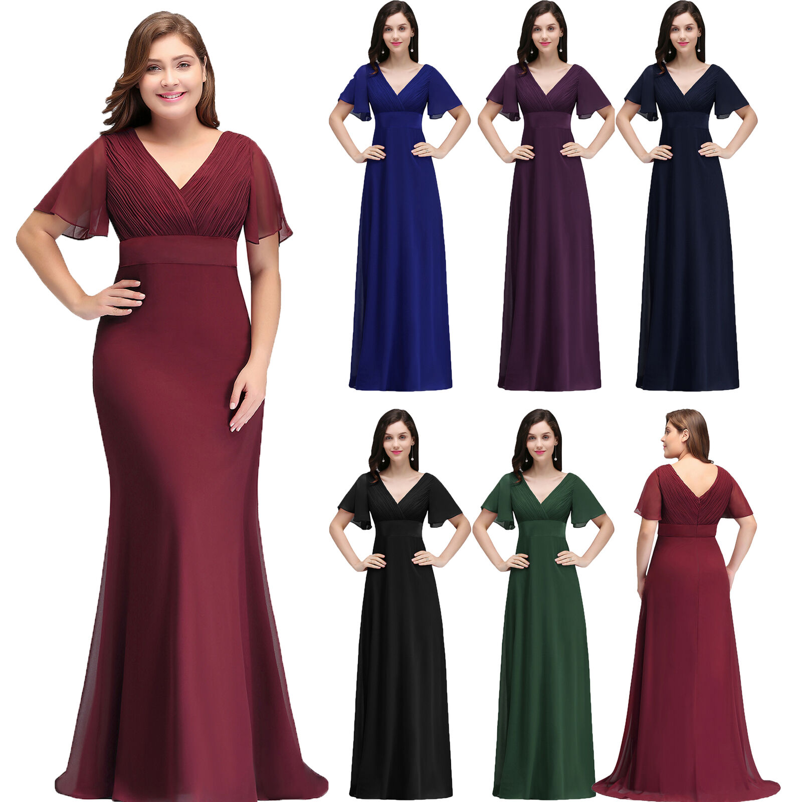 d23df8eff4e Custom Bridesmaid Chiffon Short Sleeves Evening Prom Gown Mother of Bride  Dress Plus Size