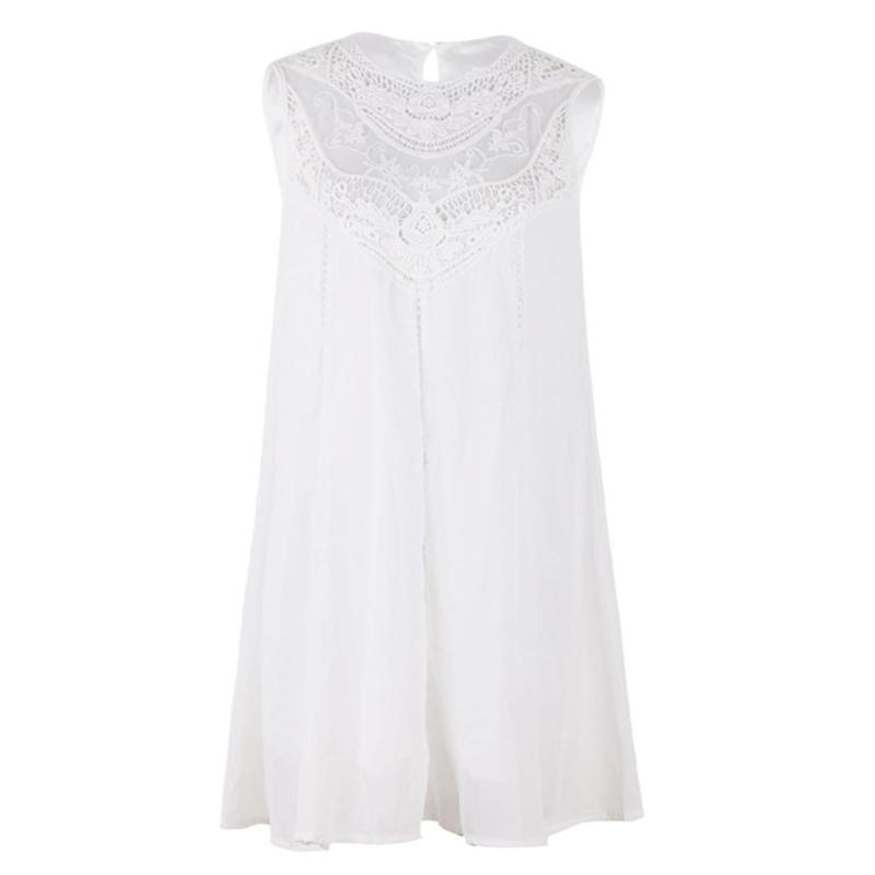 cff93a967e8 ... FREE Shipping Tassel Solid White Mini Sleeveless Lace Dress - Thumbnail  4