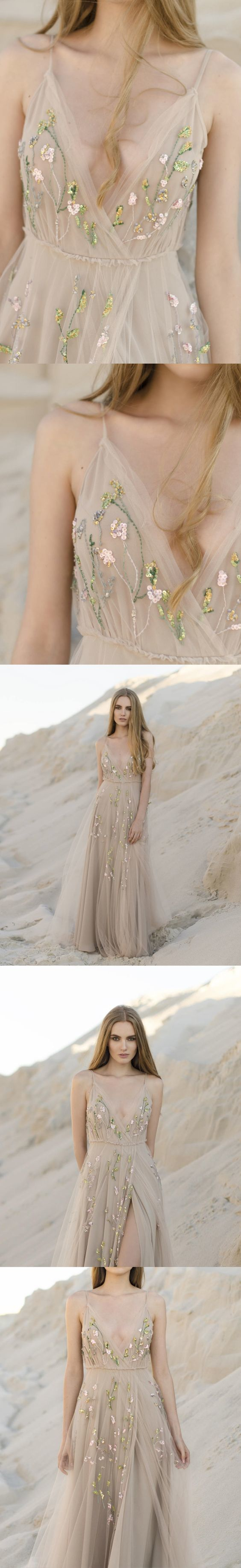 0eb1f332fc Backless Prom Dresses with Slit A Line Embroidery Beautiful Beach Open Back  Prom Dress F2907