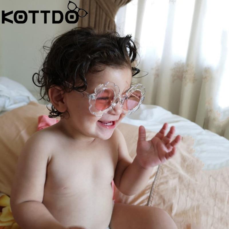7f92e2b35f9d De Round Child Kids Flower Girls Gafas Sol Boys Baby Uv400 Vintage ...
