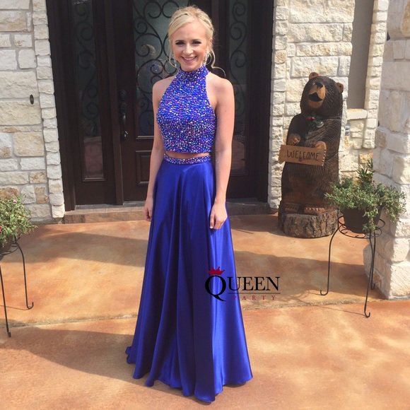 4c3458b2ba7 Brilliant Two-Piece High Neck Beaded Bodice Royal Blue Satin Long Prom Gown  With Keyhole Back on Storenvy