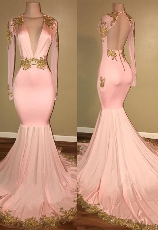 fbf176aa1ed31 Gorgeous Long Sleeve V-Neck Prom Dress 2019 Mermaid With Gold Crystal A0864