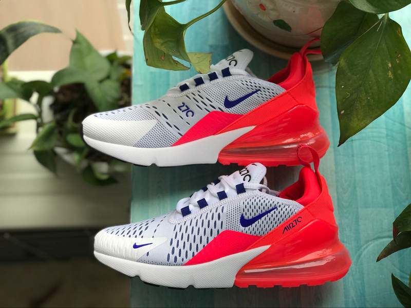 d9a4f81af7 Nike Air Max 270 FLYKNIT White Blue Red Running Sports shoes sneaker ...