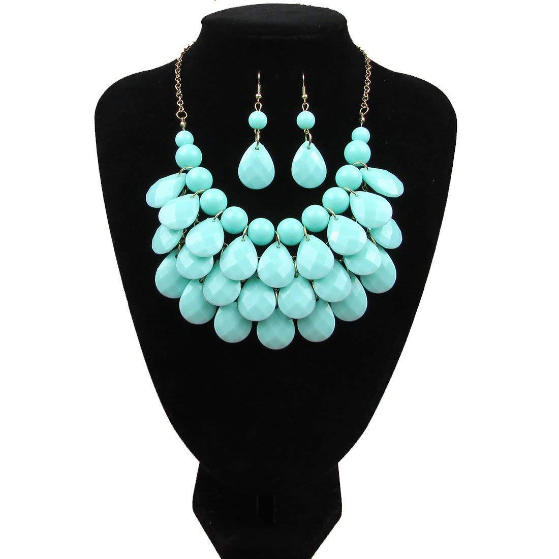 Long Multi Layered Metallic// Teal// Turquoise Coloured Acrylic Bead Necklace With