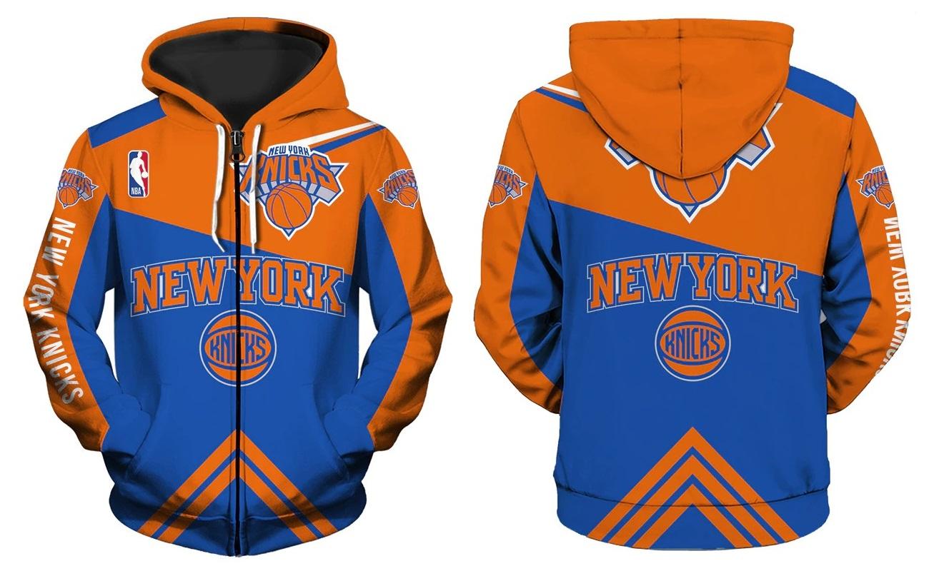 bd4379d45 New York Knicks Full-Zipper Hoodie NBA Basketball Sweatshirts New Season -  Thumbnail 1 ...