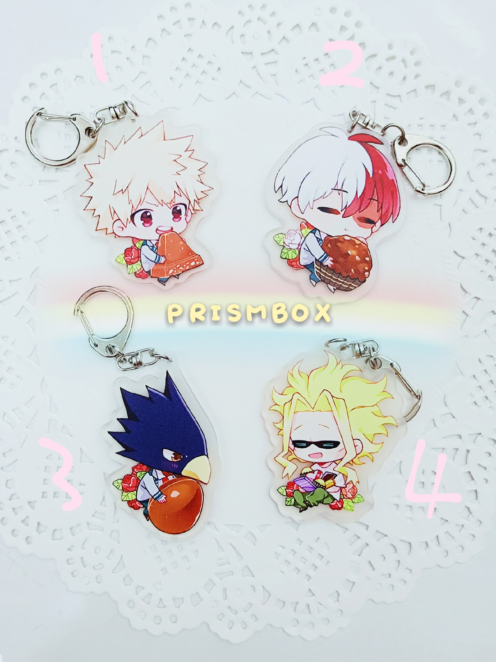 Boku no Hero Academia (BNHA) Chibi Foodie Acrylic Charms sold by prismbox