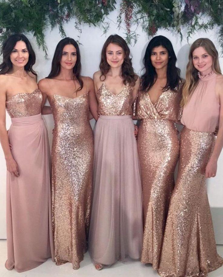 Mismatched bridesmaid dresses,Sequin