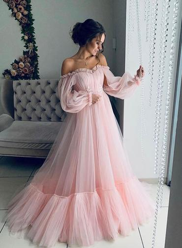 763aa3bcf3f Pink Tulle Off Shoulder Puffy Sleeves Long Prom Dress, Evening Dress ...