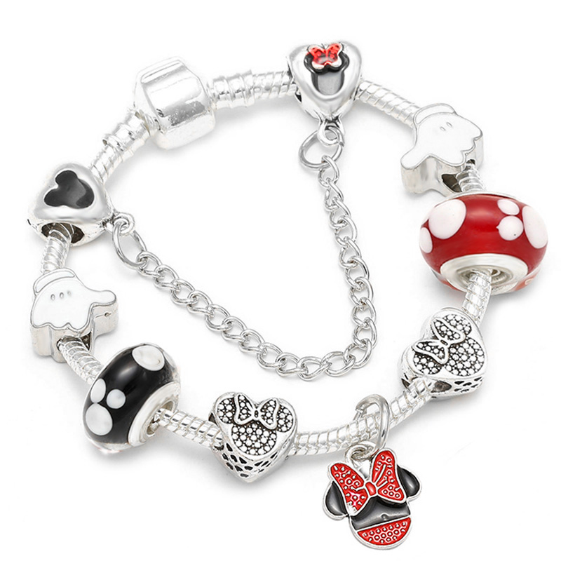 df7d3b8f3 Fine Crystal Charm Minnie Women Jewelry For Original fit Bracelet ...