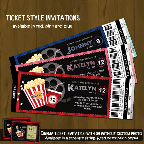 Movie Night Ticket Invitation · Splashbox Printables .  Movie Ticket Invitations Template
