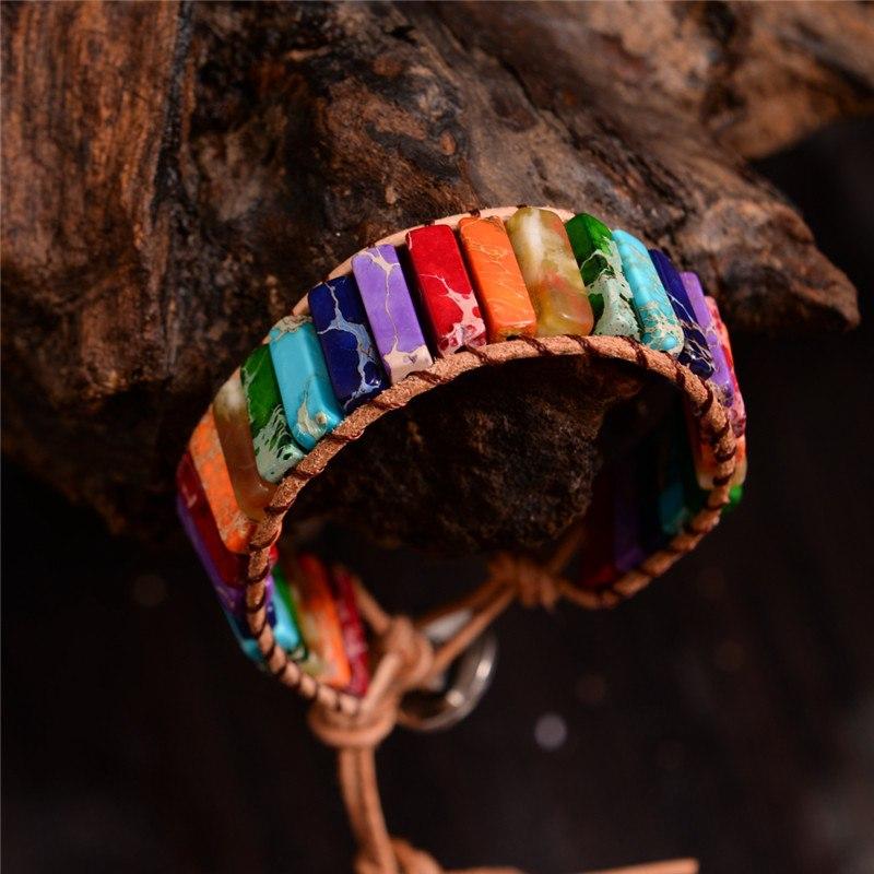Chakra Bracelet Bracelet Wrap Wrap Dropshipping Bracelet Power Single Boho  Bracelet Stone Leather Natural