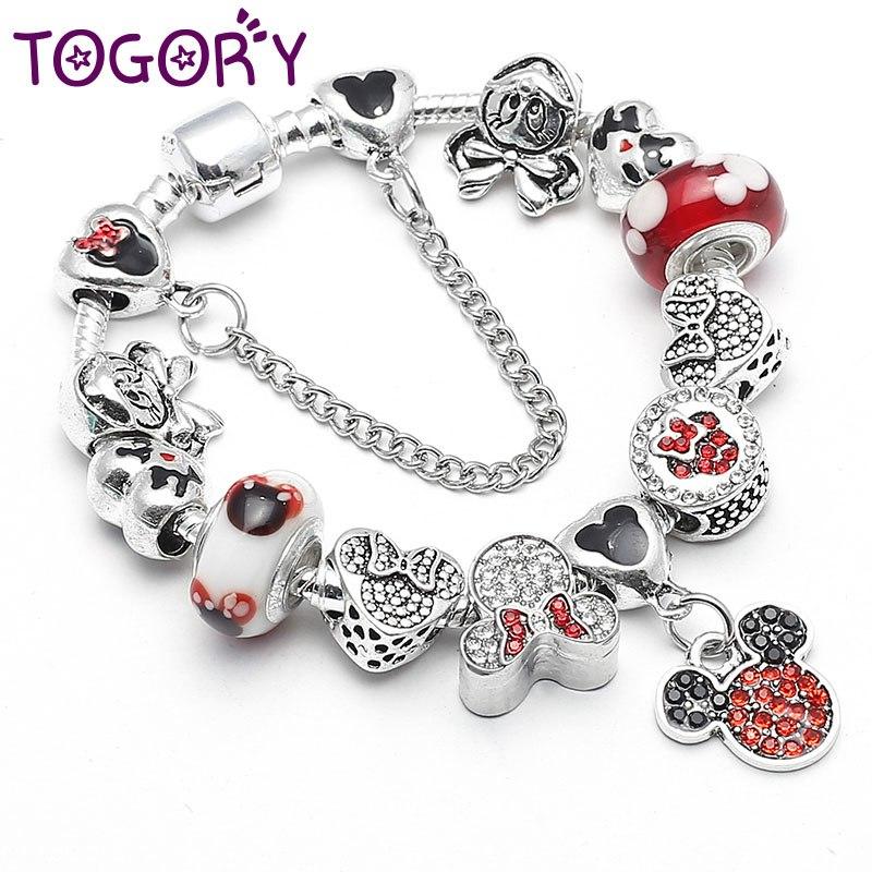 ac9409a9b Bracelet with Kids Minnie Mickey Jewelry Bracelet Silver Charm For ...