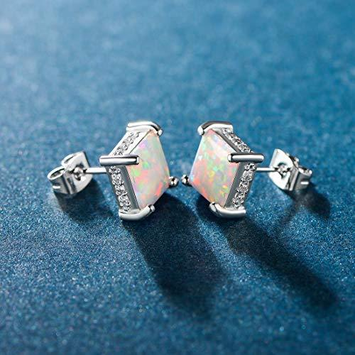 e981a0979d2fa 18K White Gold Plated Square Fire Opal Princess Cut Stud Earrings CZ Halo  for Women from Hughdeal4less