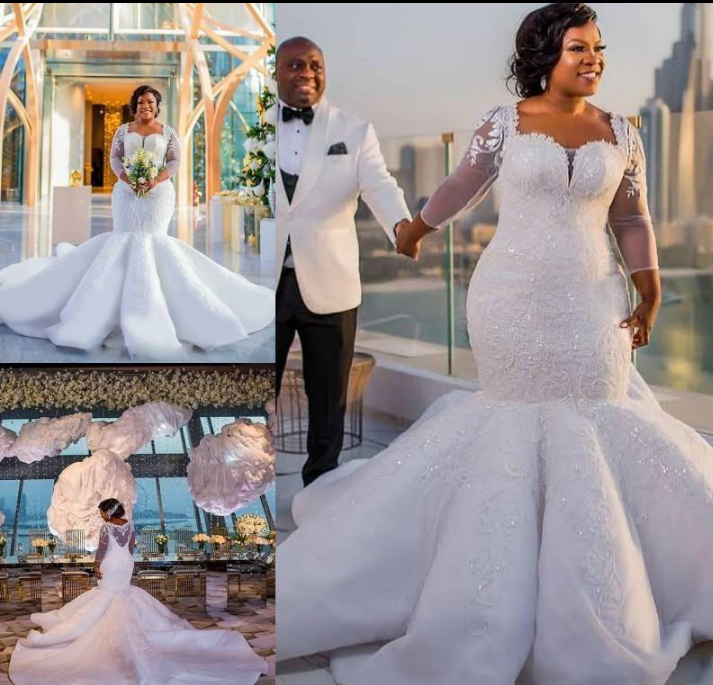 Sale! Custom Fit N Flare Lace Long Sheer Sleeve Sheer Back Plus Size  Wedding Dress from Curvy Brides