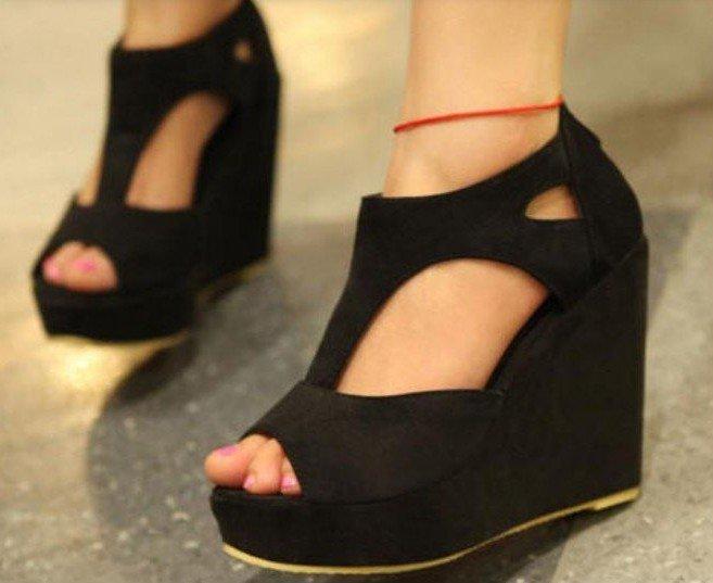 5a27814b8b3 new fashion sexy dress black wedge shoes women s high heels sandal ...