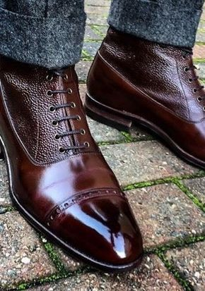Handmade Men Two Tone Wingtip Cap Toe Boots Leather Boot