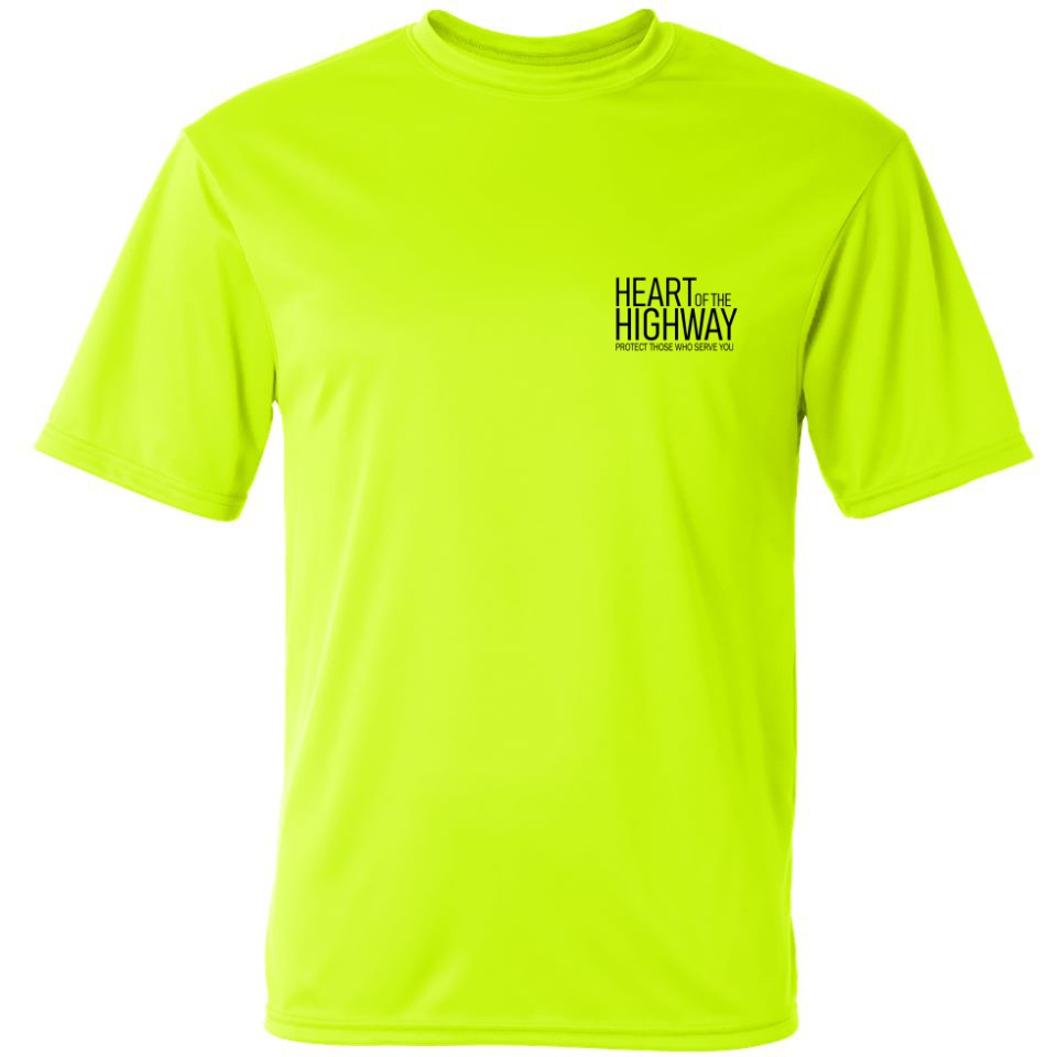 a11f608b0 ADULT T-SHIRT (SAFETY GREEN) DESIGN #1 · HEART OF THE HIGHWAY ...