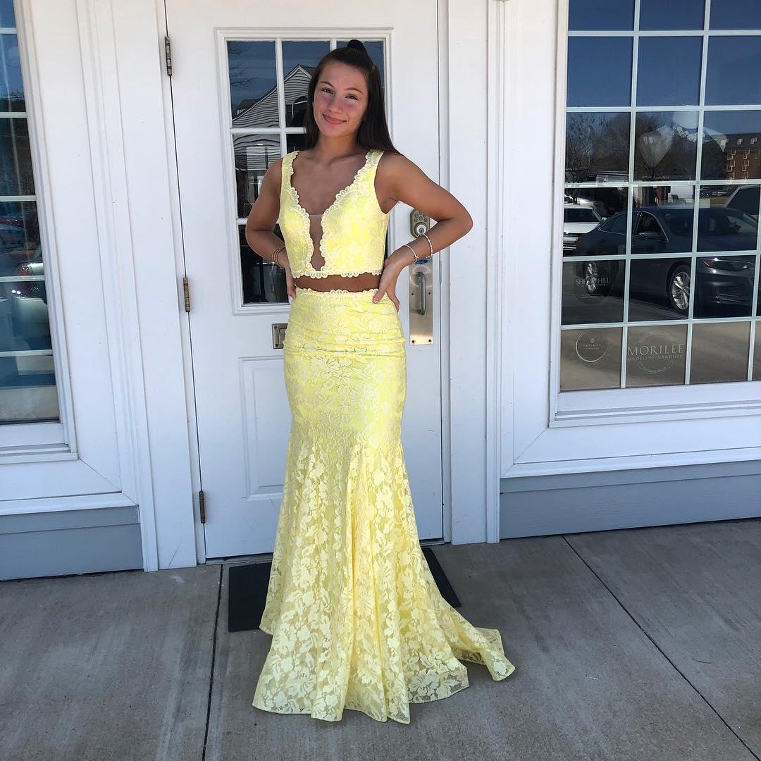 218704cbbcf Elegant Two Piece Yellow Mermaid Lace Formal Dress · modseleystore ...