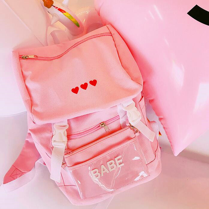 Harajuku Red Heart Backpack with Purse (107435499 andyube) photo