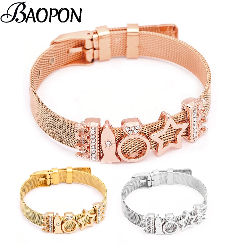 2ebdbf7ab085f Rose Gold Stainless Steel Charm Bracelet Crown & Star Pandora Reflexions  Mesh Bracelets for Women Men Lover Gift
