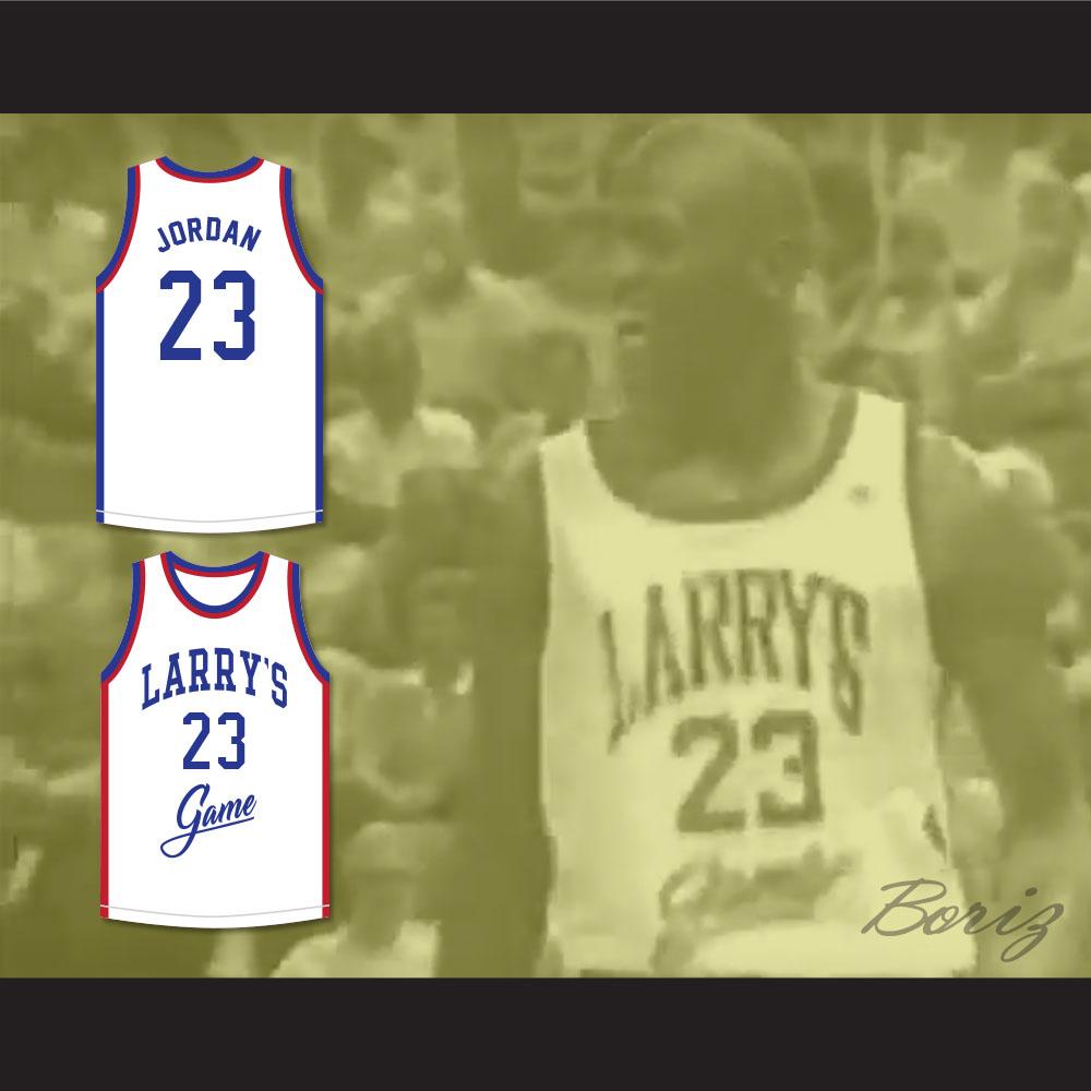 c34561c033a ... Michael Jordan 23 Larry's Game White Basketball Jersey 1988 Charity  Event - Thumbnail ...
