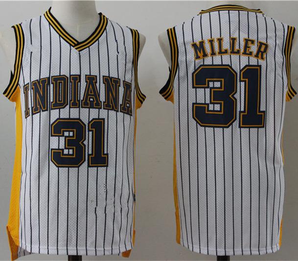 db2da493ebd Men's Indiana Pacers 31# Reggie Miller Gold White Retro Stripes ...