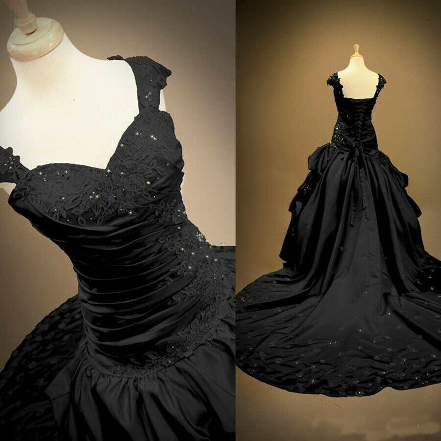 Sale! Plus Size Gothic Black Satin Wedding Dress Sweetheart Ball ...