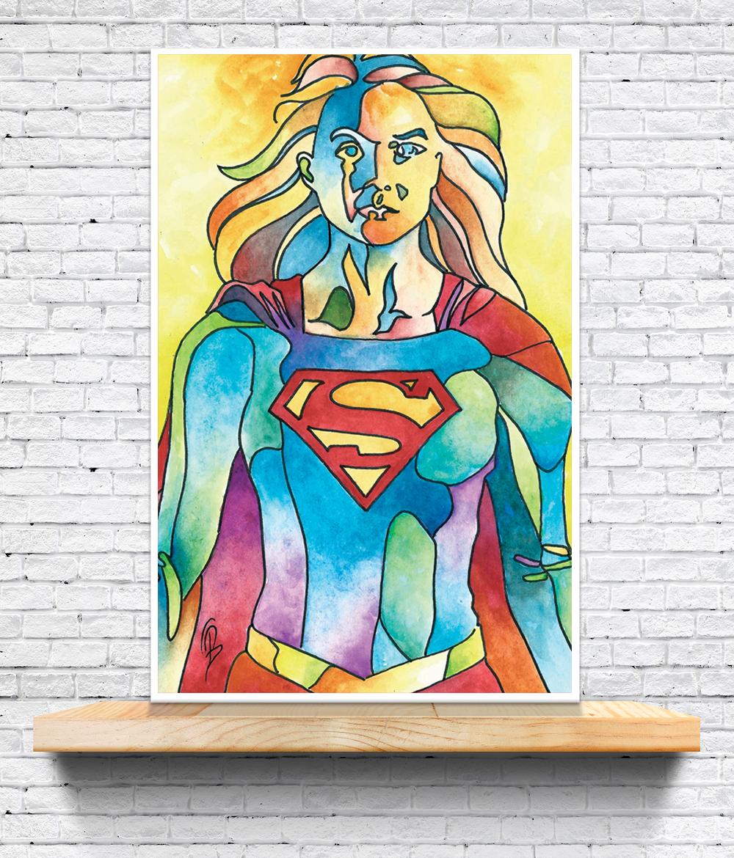 Supergirl 12x18 Art Print Todd Beistel Comic Pop Art Online