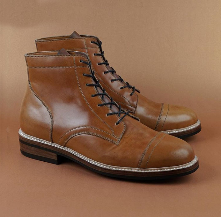 bf0de50999b45 Handmade Men's Ankle High Boot, Men's Brown Leather Cap Toe Lace Up ...