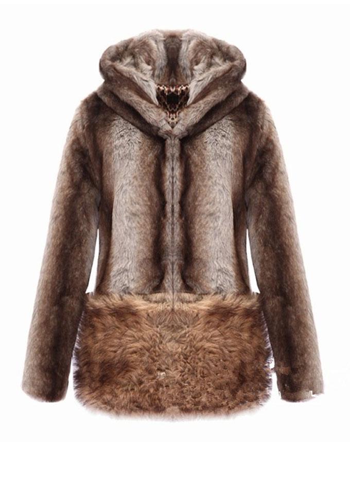 On Sale Lovely Bear Hooded Fluffy Faux Fur Coat