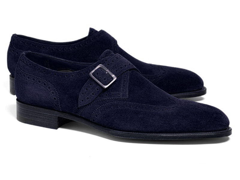 Handmade Men's Monk Shoes, Men's Navy