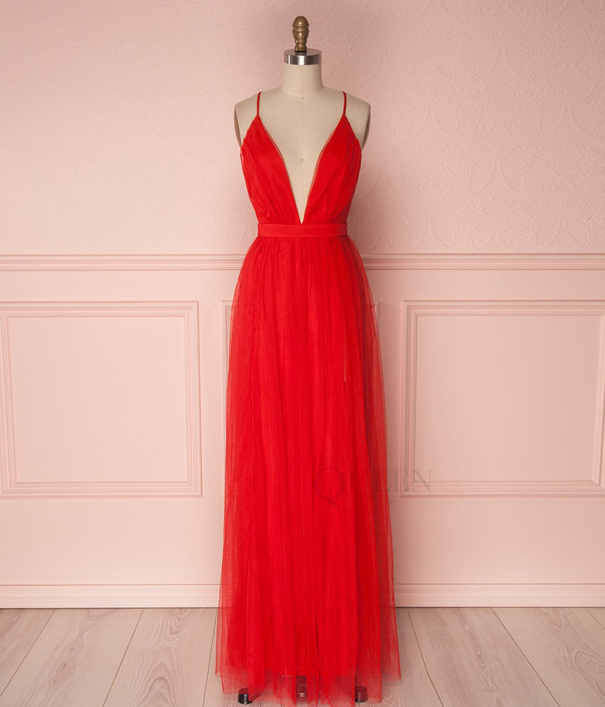 3a37c9423eb Red Spaghetti Strap Low V-Neck Tulle Long Formal Prom Dress with Adjustable  Straps